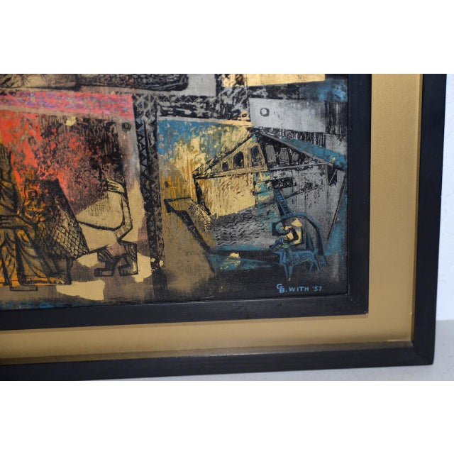 """1956 """"Memory of the Bronze Doors of San Zeno, Italy"""" Oil Painting by Gerda With For Sale In San Francisco - Image 6 of 13"""