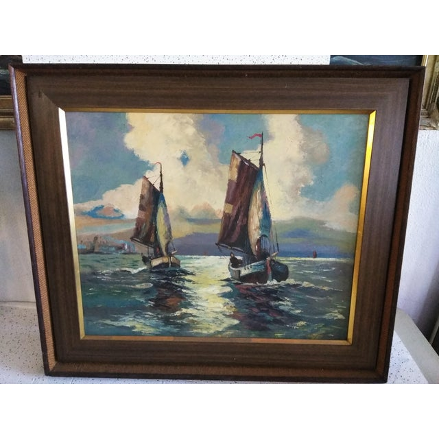 "Mid-Century Modern Original ""Sail Boat Race"" Oil on Canvas Painting For Sale In Tampa - Image 6 of 6"