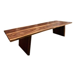 Mid-Century Modern Handcrafted Single Slab Live Edge Table For Sale