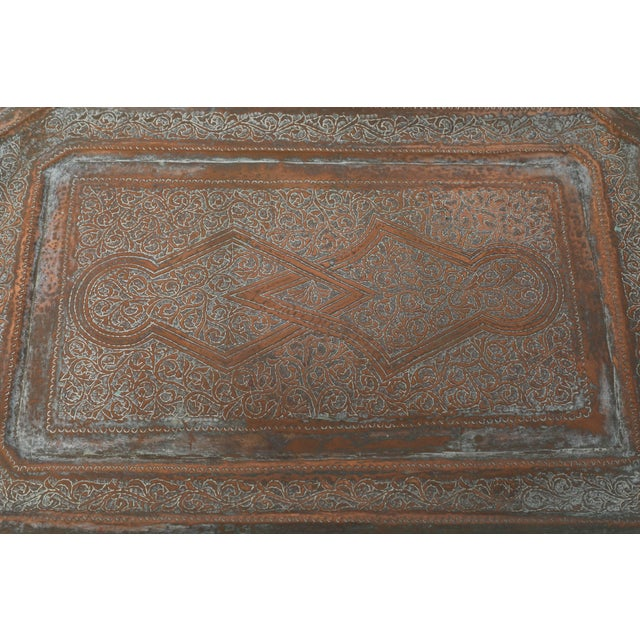 Islamic Middle Eastern Octagonal Persian Copper Tray Charger For Sale - Image 3 of 7
