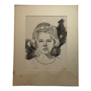 Original 1963 Velvet Portrait Drawing of a Young Blonde Girl For Sale