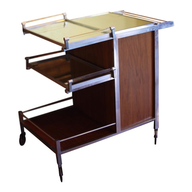 Dry Bar Service Cart by Jacques Adnet For Sale