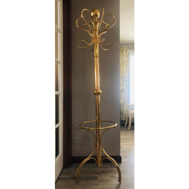 20th Century Hollywood Regency Brass Coat Rack/Hall Tree For Sale In Providence - Image 6 of 6