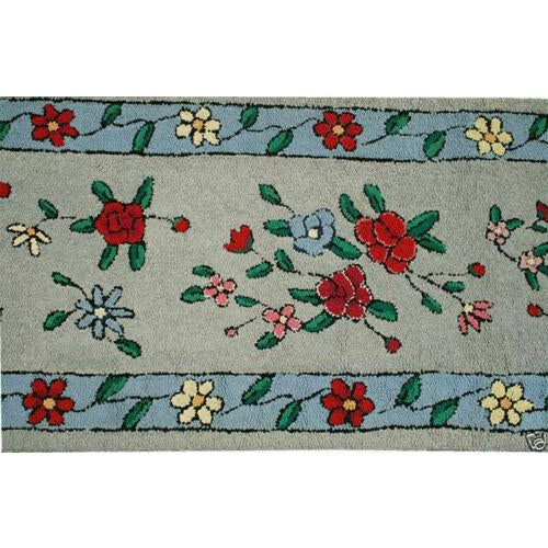 "Contemporary 1930s Antique American Floral Rug-2'2'x9'10"" For Sale - Image 3 of 5"
