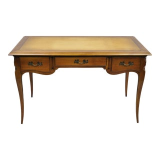 Vintage French Provincial Louis XV Style Cherry Wood Leather Top Writing Desk For Sale