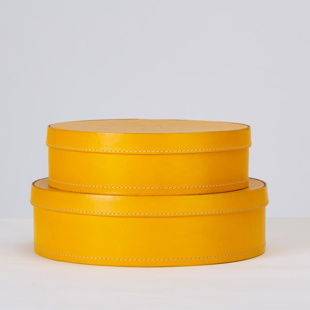 Yellow Round Leather Nesting Boxes by Arte Cuoio & Triangolo - A Pair For Sale - Image 8 of 13