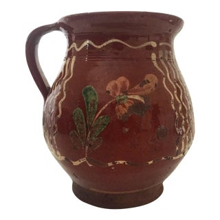 1920's Mexican Artisan Hand Painted & Glazed Earthenware Ceramic Jug Pitcher
