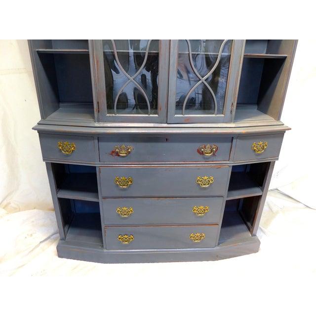 Saginaw Vintage Mahogany Gray Cupboard For Sale - Image 4 of 11