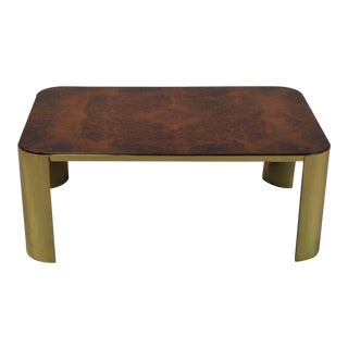 Mid Century Cocktail Table With Faux Burl Wood Top & Brass Base