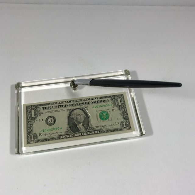 Vintage Dollar Bill Lucite Pen Holder - Image 8 of 11