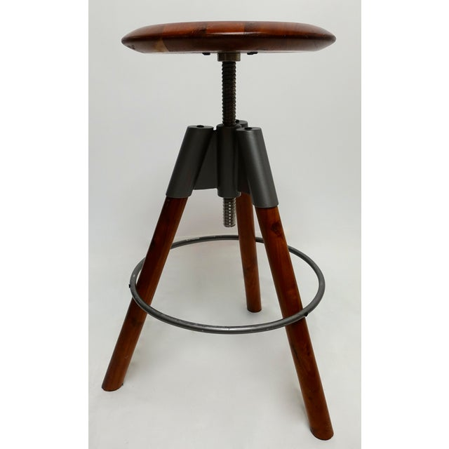 Contemporary Modern Three Leg Wood & Metal Adjustable Height Swivel Stool For Sale - Image 3 of 13