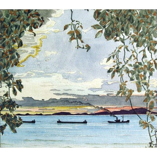 River Boats Watercolor For Sale