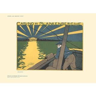 "HENRI MEUNIER Casino de Blankenberche 8.25"" x 11.5"" Lithograph 1897 Multicolor, Green, Yellow For Sale"