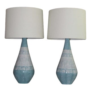 Pair Of Bitossi influence Embossed Mid Century Modern Table Lamps. For Sale