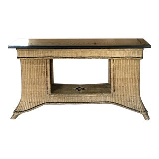Mid-Century Wicker Table For Sale