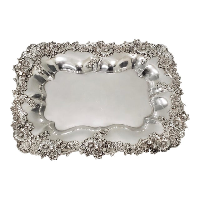 """Theodore B. Starr 14.5"""" Sterling Sandwich Tray C.1880s For Sale"""