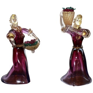 Murano Figurines Holding Baskets - a Pair For Sale