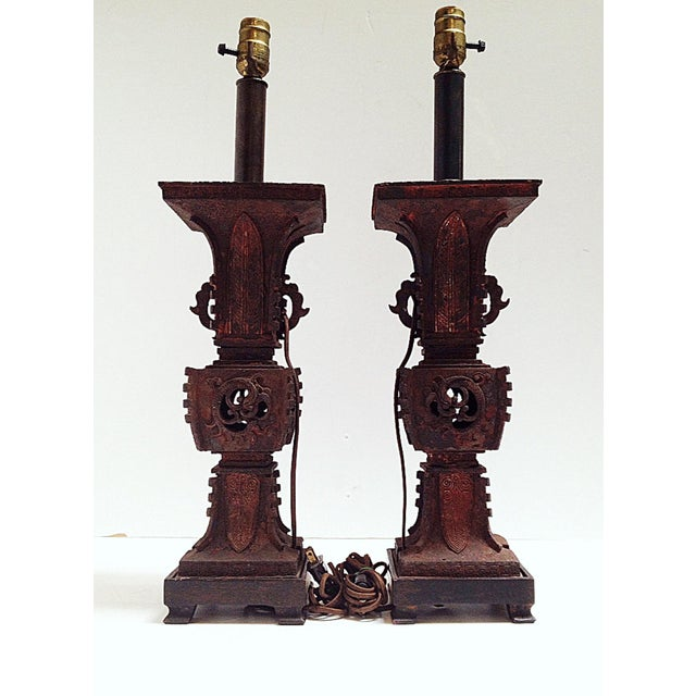 Qing Dynasty Iron Gu Vase Lamps - Pair - Image 4 of 11