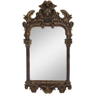 Neoclassical Carved Giltwood Mirror With Corinthian Columns & Acanthus Leaves For Sale