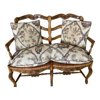 Pierre Deux Ladderback Settee With Cushion For Sale