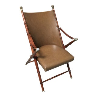Faux Bamboo Campaign Mid-Century Chair For Sale