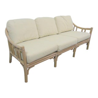 McGuire White Bamboo & Leather Sofa For Sale