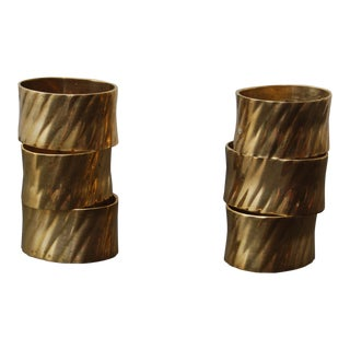 Mid 20th C. Brass Napkin Rings - Set of 6 For Sale