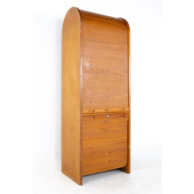 Mid Century Teak Tambour Door Upright Storage Credenza For Sale - Image 13 of 13
