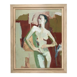 Contemporary Abstract Nude Figure Acrylic Painting by Donna Weathers, Framed 11x14