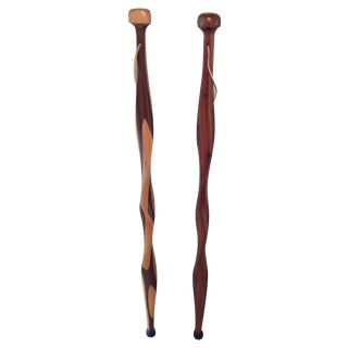 Amish Walking Sticks - Pair For Sale
