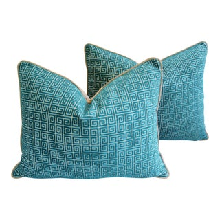 Turquoise Greek Key Velvet Feather/Down Pillows - A Pair For Sale