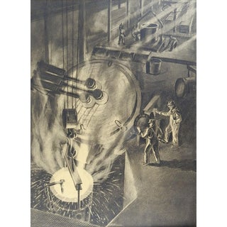 1940's Wpa Industrial Drawing For Sale