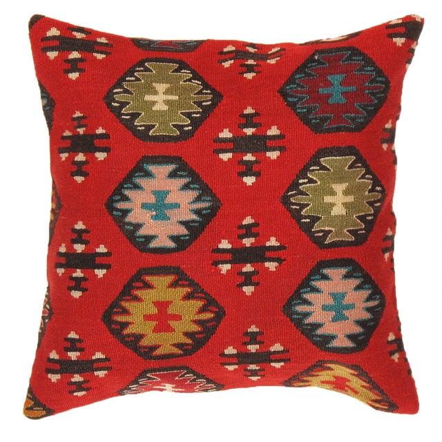 Red Pasargad Decorative Vintage Kilim Pillow - Image 1 of 2