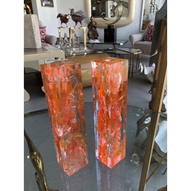 Plastic Pair of Vintage Orange Resin Candlesticks Signed N M For Sale - Image 7 of 11