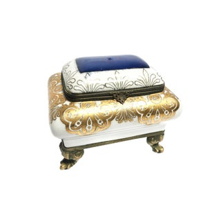 Vintage Mid Century Brass Footed Porcelain Hand Painted Jewelry Box For Sale