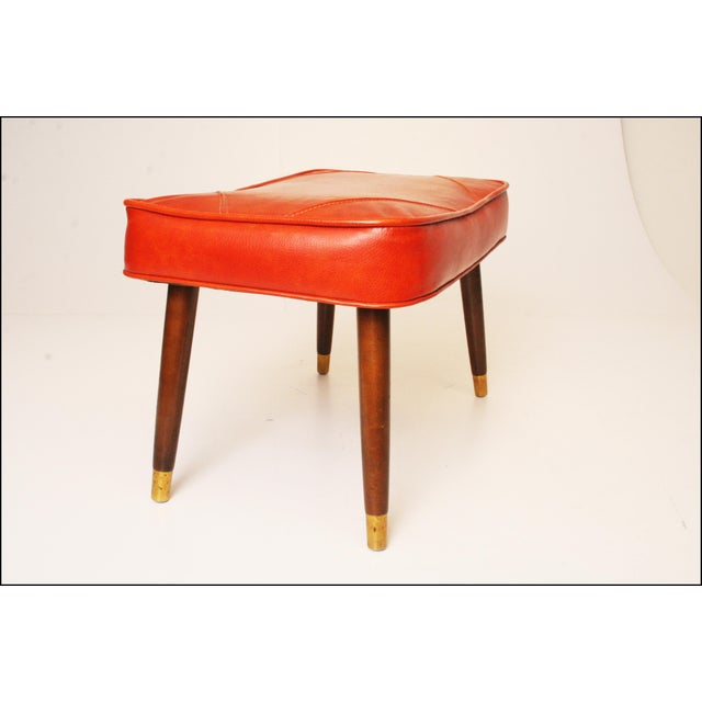 Mid-Century Modern Orange Vinyl Foot Stool - Image 8 of 11