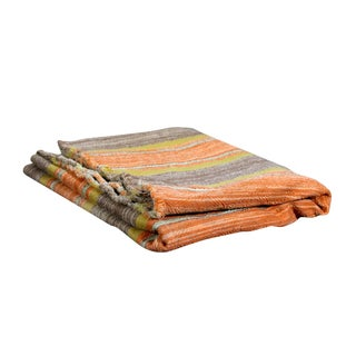 1960s Boho Chic Striped Handwoven Frazada Throw Rug For Sale