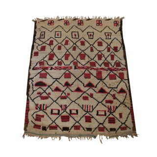 "Vintage Beni Ouarain Azilal Moroccan Carpet - 6'3"" X 4'9"""