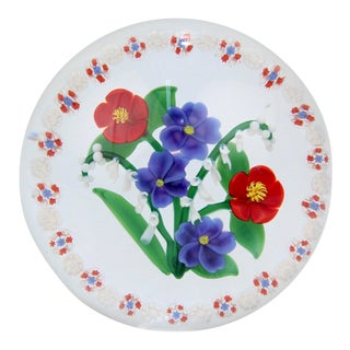 Randall Grubb Flat Flower Bouquet Glass Paperweight with a Millefiori Garland For Sale