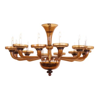 Large and Richly-Colored Murano Twelve-Light Amber Glass Chandelier For Sale