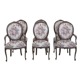 French Louis XV Upholstered Dining Room Chairs - Set of 6