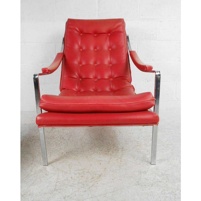 Vintage Mid-Century Tufted Armchair and Ottoman - Image 5 of 7