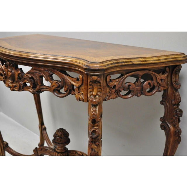 Brown 20th Century French Louis XV Carved Walnut Banded Console Table For Sale - Image 8 of 11