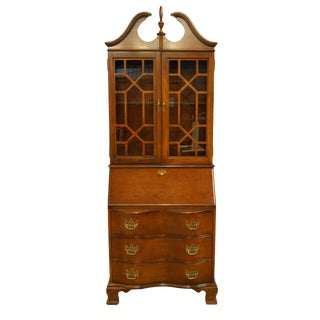 20th Century Chippendale Jasper Secretary With Display Hutch For Sale