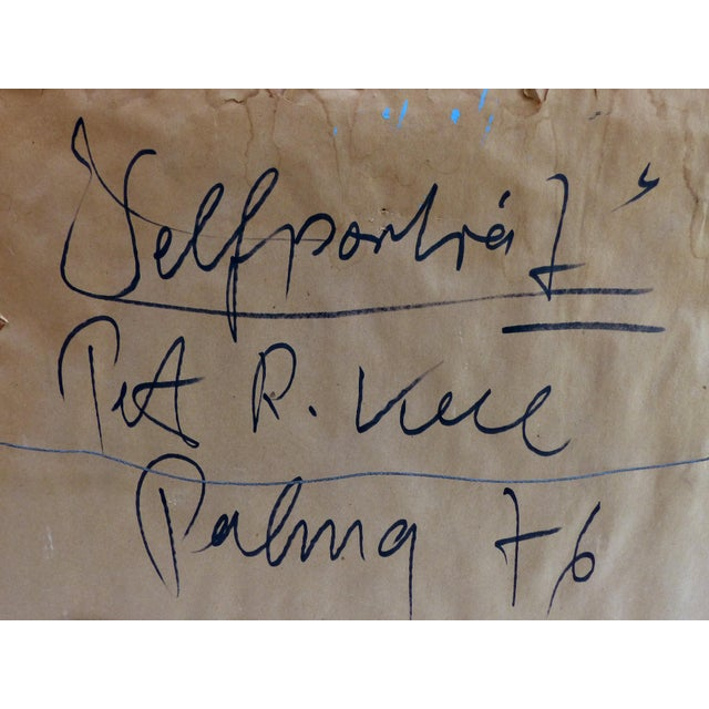 Black 1976 Self Portrait Painting by Peter Keil For Sale - Image 8 of 9
