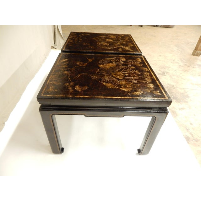 Late 19th Century 19th Century Chinoiserie Black Lacquered Coffee Tables - a Pair For Sale - Image 5 of 7