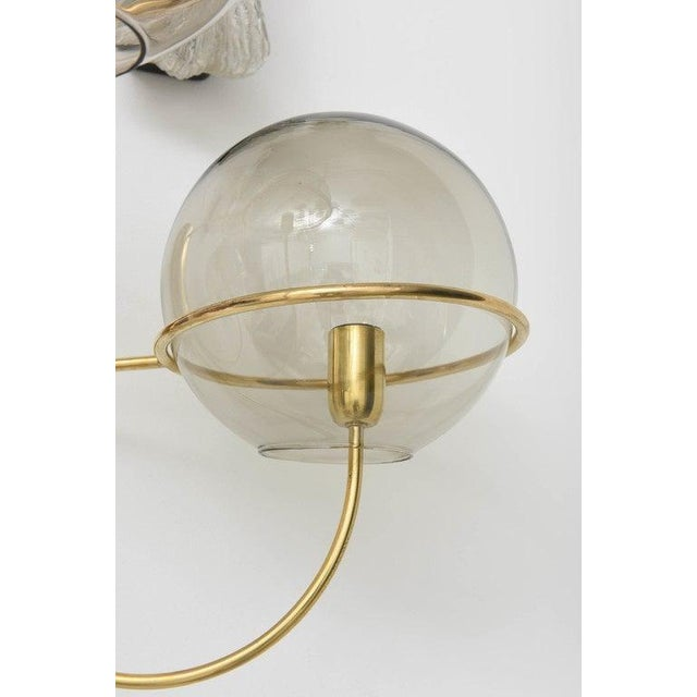 Metal Mid-Century Modern Vico Magistretti Style Brass and Smoke Glass Sconces - a Pair For Sale - Image 7 of 12