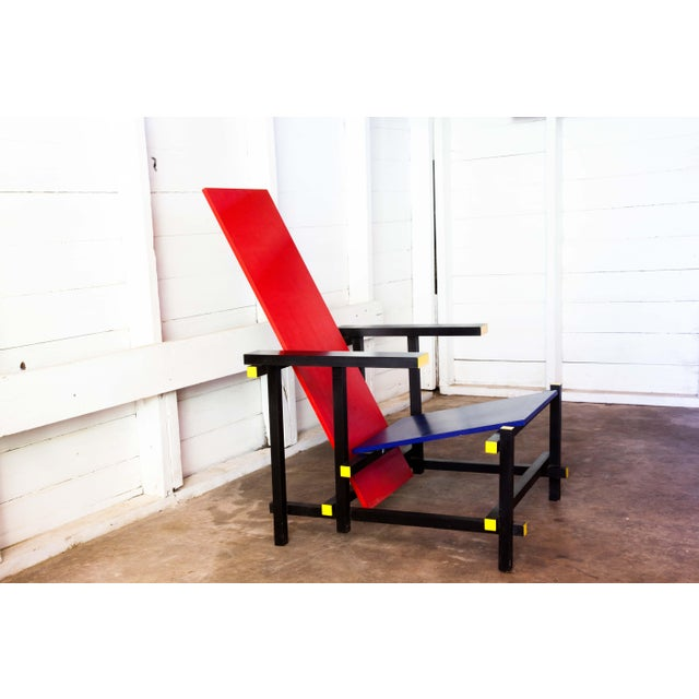 Bauhaus Modern Red & Blue Lounge Chair For Sale - Image 3 of 11