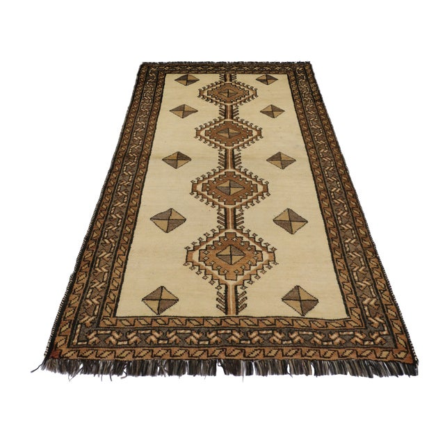"""Mid-Century Modern Vintage Persian Shiraz Rug - 3'5"""" x 6'9"""" For Sale - Image 3 of 11"""