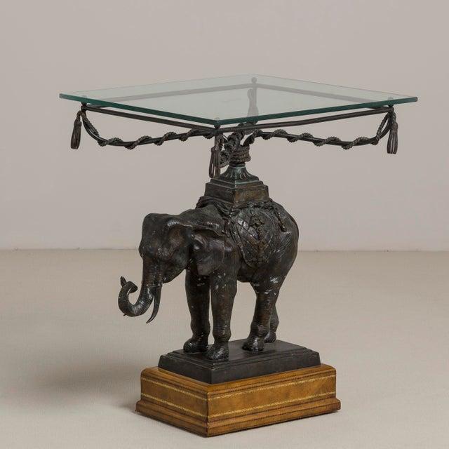 A Maitland Smith Designed Bronze Elephant Side Table 1970s Top 51cm X Footprint 48cm